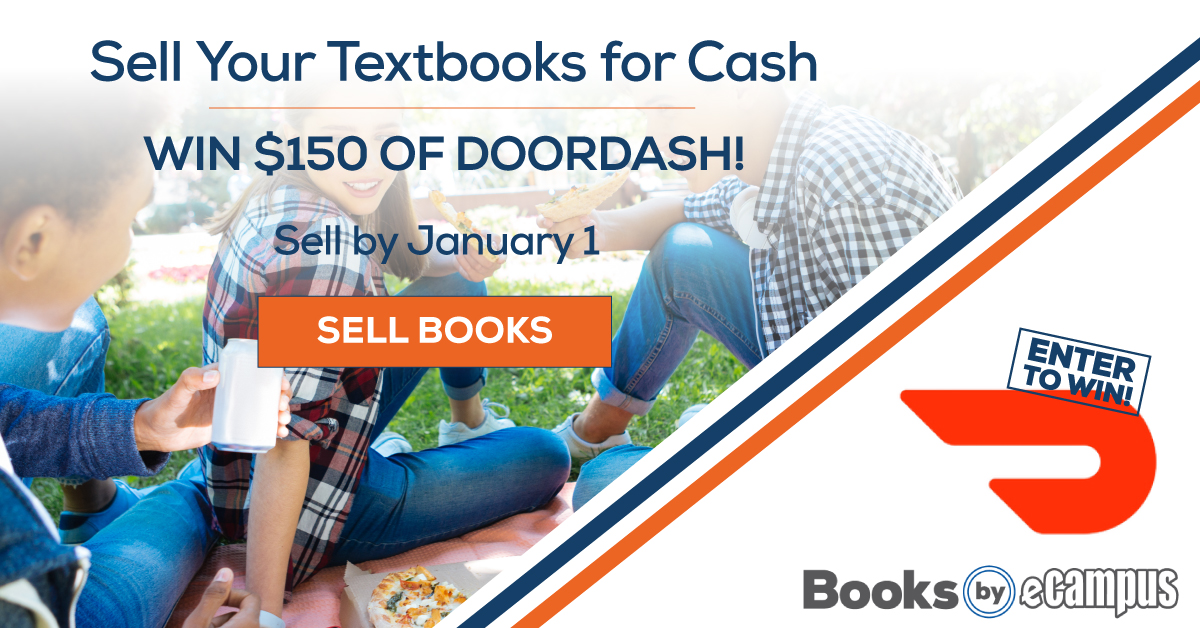 Sell your textbooks for cash and win $150 of DoorDash